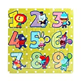 Anglewolf Wooden Kids 16 Piece jigsaw toys education and learning puzzles wooden jigsaws piece toddler square puzzle toy elephant panda puppy little lamb ship train plane goose tiger cock frog(C)