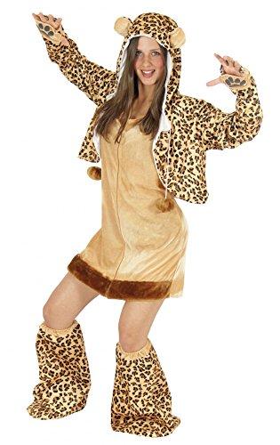 Foxxeo Leoparden Kostüm für Damen Tierkostüme sexy Kleid für Karneval und Fasching Erwachsene Größe ()