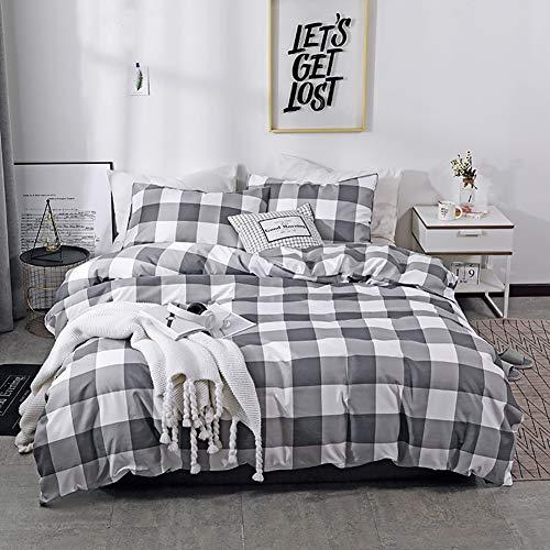 TINE Bettwäsche Set Bettbezug Weiß Grau Gitter Design Bettwäsche-Set mit Kissenbezug Super Weiche Modern Style Atmungsaktive Polyester Bettdeckenbezug 2/3-teilig,135x200cm