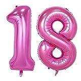 Ouinne Ballon Zahl 18, 40 Zoll Helium Folie Luftballon 18 Geburtstag Folienballon Geburtstag Dekoration Set Riesen Folienballon Fur Party (Pink)