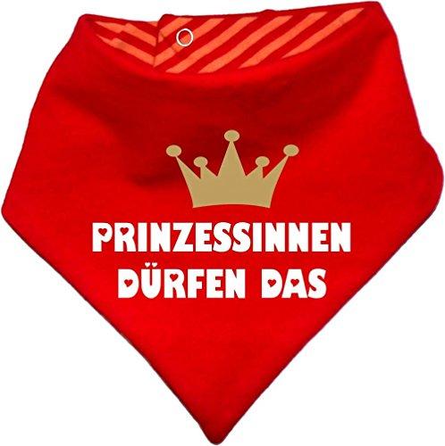 Kinder Wendehalstuch uni/gestreift (Farbe rot-orange) (Gr. 1 (0-74)) Prinzessinnen dürfen das