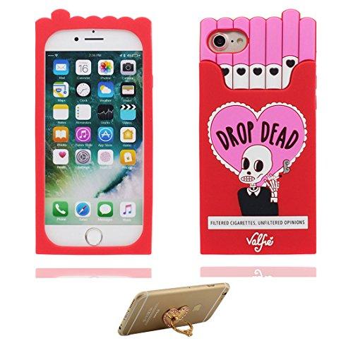 """Coque iPhone 6 Plus Cover Gel en caoutchouc TPU silicone en forme -3D Boîte à cigarettes Crâne Nouveau, iPhone 6 Plus Étui 5.5"""", iPhone 6S Plus Case 5.5"""" Shock Poof et ring Support rouge"""