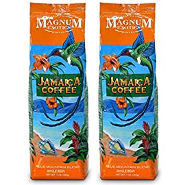 Jamaican Blue Mountain Whole Bean Coffee Medium Roast – (Multi-Packs, 454 Grams Per Bag) – American Imported, 100% Arabica High Mountain Blend Coffee
