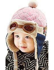 Tongshi Nuevos muchachos calientes del invierno del casquillo del sombrero de la gorrita tejida piloto aviador ganchillo Earflap Sombreros(Rosa)