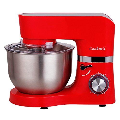 Cookmii Küchenmaschine Rührmaschine Knetmaschine 1500 W 6 PS 5,5 L mit Edelstahlschüssel Teigmaschine Rot (Pizza Teig Maschine)