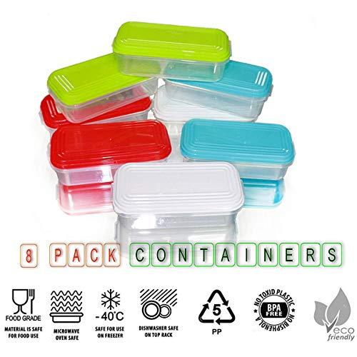 NEEZ Juegos de recipientes para Cereales Pasta, Fiambreras, Sin BPA, Almacenamiento de Alimentos, Almacenamiento y organización, Almacenamiento de Cocina y despensa (Pack of 8x150ml)