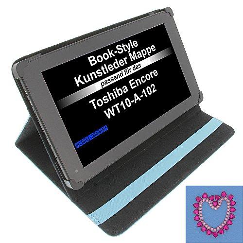 Tasche Strass Herz für Toshiba Encore WT10-A-102 Excite AT10-A-104 Book Style Schutz Hülle Buch blau