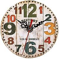 Relojes de Pared de Madera, 7 tipos de estilo Vintage relojes de pared de madera redonda oficina en casa decoración del dormitorio(#3)
