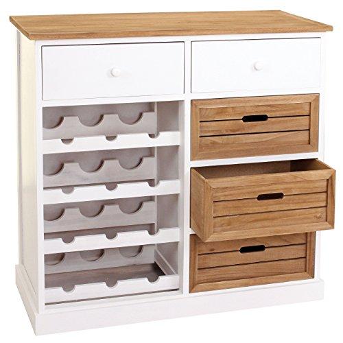Mendler Weinregal HWC-B96, Kommode Flaschenregal für 12 Flaschen mit Schubladen, Landhaus...