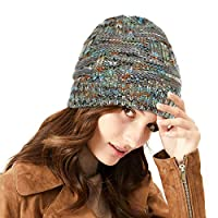 Lamdgbway Women Winter Colored-spots Knit Messy Bun Hat Trendy Stretch Bun Ponytail Beanie Hat Green Gray A