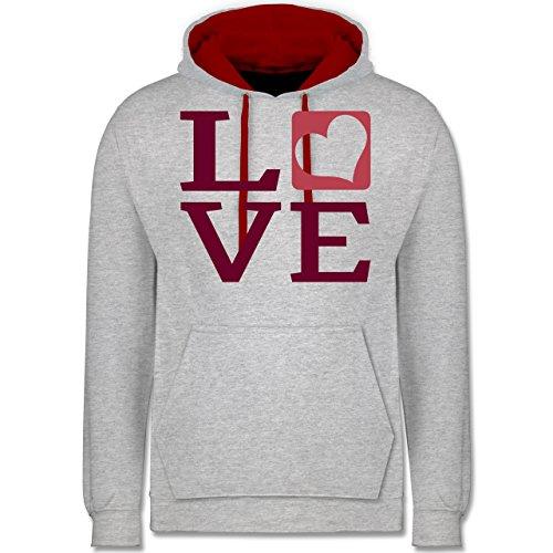 Valentinstag - LOVE Herz Typographie - Kontrast Hoodie Grau Meliert/Rot
