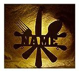 Schlummerlicht24 Brotmesser Besteck Deko Lampe mit Name Zubehör für den Koch lustige witzige Geschenke Set für Köche Küche Dekoration Wohnzimmer Restaurant Kantine