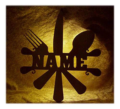 Schlummerlicht24 Brotmesser Besteck Deko Lampe mit Name Zubehör für den Koch lustige witzige Geschenke Set für Köche Küche Dekoration Wohnzimmer Restaurant Kantine (Kantine-set)