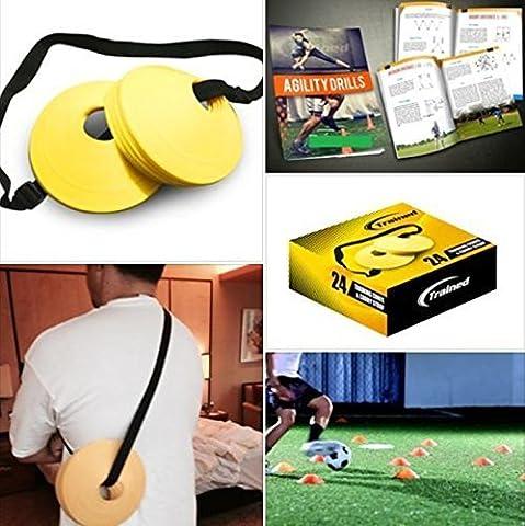 Abgebildetes Sport-Set mit 24 Sport- Markierungskegeln , 5,1 cm Höhe, (gelb) Tragegurt und gratis E-book (Agilità Sport Cono)