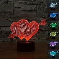 Youzone Magico pannello di visualizzazione 3D Optical Illusion 7 colori cambiano tocco Switch USB Table Lamp Bulbing luce notturna a LED illuminazione domestica decorazione luci domestici (freccia attraverso il cuore)