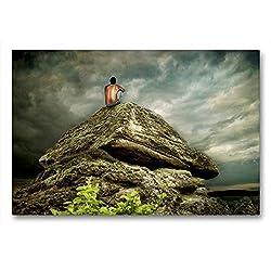 Calvendo Premium Textil-Leinwand 90 cm x 60 cm quer, Bergmeditation | Wandbild, Bild auf Keilrahmen, Fertigbild auf echter Leinwand, Leinwanddruck: In der Stille Glaube Glaube