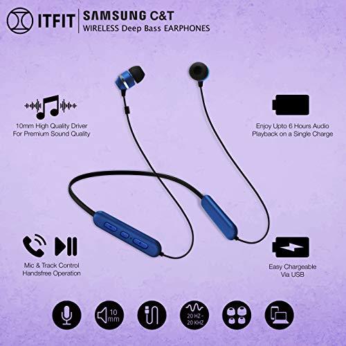 Samsung C&T ITFIT Bluetooth Wireless Earphone with Flexible Neck Band and handsfree Mic (GP-OAU019SABBI, Blue-Black) Image 5