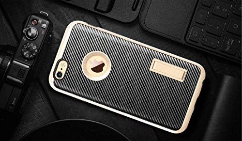 iPhone 6S Schutzhülle, Valenth Carbon-Faser-Hybrid-Gleitschutzgriff Ganzkörper-Schutz-Hülle mit Ständer für iPhone 6S 2#