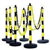 MORAVIA Kettenständer-Set aus Kunststoff mit befüllbarem Fuß, schwarz/gelb, 175.17.247