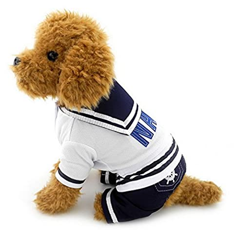 Ranphy Small Dog Cat Navy Sailor Outfits Stripes Sweatshirt Captain Pet Costume Dog Four Legged Jumpsuit XL