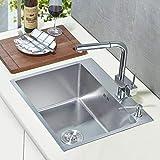 Auralum 55×45×22cm Küchenspüle Einbauspüle Waschbecken Spülbecken Handwaschbecken aus Gebürstetem Edelstah Wasche Becken Auflagespüle 2 Montagelöcher