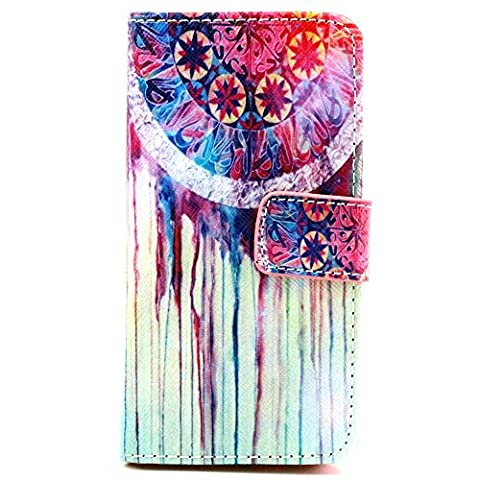 Ancerson multicolores étui de protection à rabat en cuir synthétique pour apple iPhone 5/5S/5 g dans la peinture à l'huile colorful painting à rabat style étui de protection en cuir avec fonction support et emplacements pour cartes Traumfänger