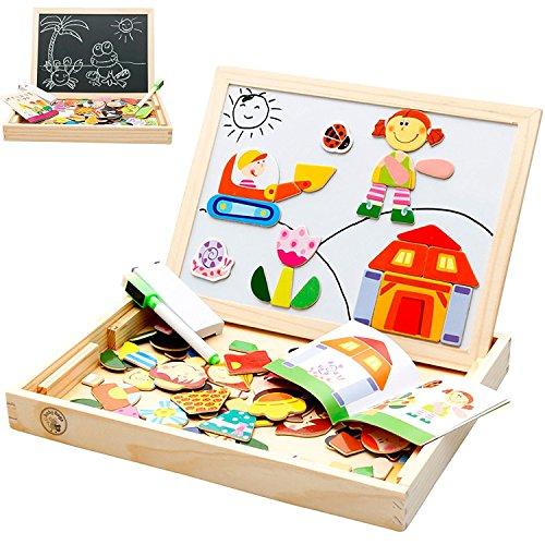 Spielzeug Magnetische Schreibtafel doppelseitig Zeichnen Tafel Art Staffelei–Happy Families Figuren (Magnetischen Trocken Abwischbaren Boards)