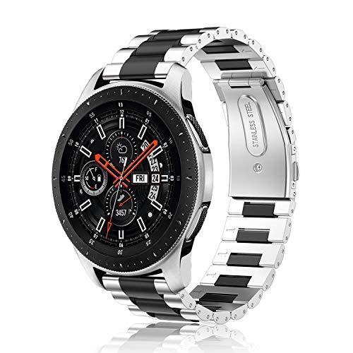 Fintie Armband für Samsung Galaxy Watch 46mm / Gear S3 Frontier/Gear S3 Classic/Huawei Watch 2 Classic Smart Watch - 22mm Uhrenarmband Edelstahl Metall Ersatzband, Silber/Schwarz