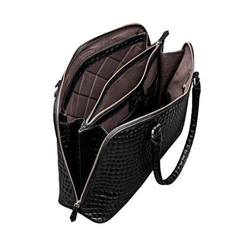 Maxwell-Scott® Kroko Leder Laptoptasche für Damen (Fiorella Croco) Schwarz Croco