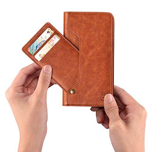 Custodia iPhone X , Custodia in pelle di Retrò Flip Wallet Case Cover per Apple iPhone X/iPhone 10 5,8 Pollici, con Chiusura magnetica (Marrone Scuro) Marrone