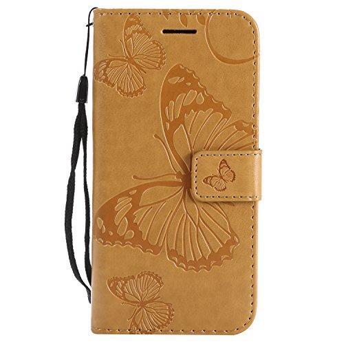 Gray Plaid Coque iPhone 7/iPhone 8,Haute Qualité en Relief Papillon PU Portefeuille en Cuir Stand Flip Protection Case Cover avec Porte-Cartes pour iPhone 7/iPhone 8 - Jaune