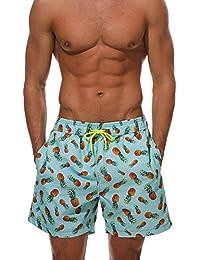 Decha Herren Sommer Bermudas Strand Shorts Freizeit Lose Boardshorts  Drucken Flamingo Ananas Schnelltrocknend Badeshorts… 70322bc131