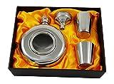 150 ml Rund-Flachmann mit Fenster-Geschenkset mit zwei Schnapsgläsern und Trichter in einer schwarzen Geschenkbox