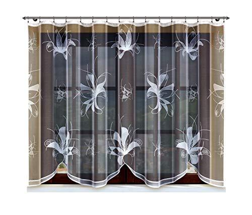 HAFT® Jacquard-Gardine mit eingenähtem fältelndem Band, weiß mit Motiv (150x300)