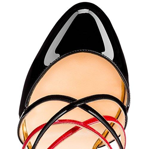Onlymaker Damen Sandalen Stiletto Pumps Round Toe Criss Cross High Heel Schnalle Leopard