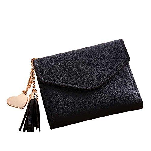 ESAILQ Femmes Simple court Wallet Tassel Porte-monnaie carte de sac à main titulaires