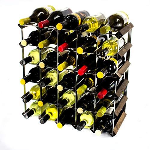 Cranville wine racks Classic 30Flasche Eiche dunkel gebeiztem Holz und verzinktem Metall Weinregal...