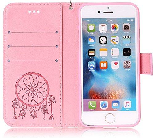 Iphone 6S Coque, Iphone 6S Case, Iphone 6 Coque, Iphone 6 Case, Nnopbeclik® Fine Folio Wallet/Portefeuille en Bonne Qualité PU Cuir Housse (4.7 Pouce) Mode Style de Gaufrage Motif + Bande de Poignet B pinkC