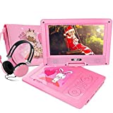 FUNAVO 9.5' Portable DVD Player with Headphone, Carring Case, Swivel Screen, 5 Hours Rechargeable Battery, SD Card Slot and USB Port (Pink)