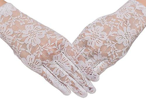 HO-Ersoka Damen Finger Handschuh Spitze kurz (Rüschen Länge Handgelenk Spitzen Handschuhe)