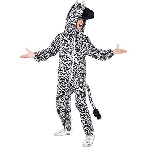 Smiffys, Herren Zebra Kostüm, Bodysuit mit Kopfteil, One Size, (Kostüm Zebra Herren)