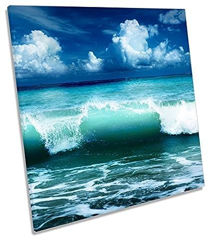 Blue Ocean Wave Beach auf Leinwand, quadratisch Wand Kunstdruck Bild, 40cm wide x 40cm high