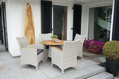 Ploß Lounge-Set Alicante, 4 Sessel, Akazie, Tischplatte aus Akazie, Alu-Rahmen, 7200313