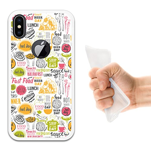 iPhone X Hülle, WoowCase Handyhülle Silikon für [ iPhone X ] Hund Fußabdruck Handytasche Handy Cover Case Schutzhülle Flexible TPU - Schwarz Housse Gel iPhone X Transparent D0406