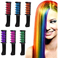 Peine de tiza de pelo,ANGTUO Película de color para el cabello DIY 6 PCS