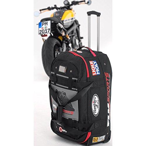 QBag Motorradtasche Motorrad Tasche/Hülle/Etui Reisetasche 01 Sponsor, tolle Optik, sicherer Stand, Einschubtaschen, robust, Trolley - Funktion, Innentasche im Deckel, Schwarz, 120 Liter