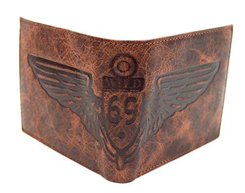 Rustikale Büffelleder Herren Geldbörse Biker Brieftasche