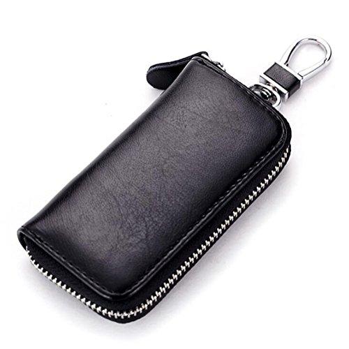 DcSpring Estuche de llaves Cuero Genuino Cartera de Llavero Moto Piel Anillo Clave Cremallera para Unisexo Mujer Hombre (Negro)