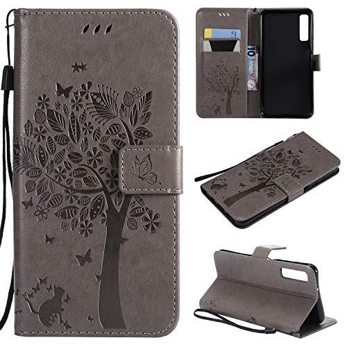MOONESS Samsung Galaxy A7 2018 Wallet Case Hülle,Grau Stand Hülle Schutzhülle PU Leder Flip Tasche Case mit Karte Halter und Magnetisch Flip Bumper Ledertasche(Grau)