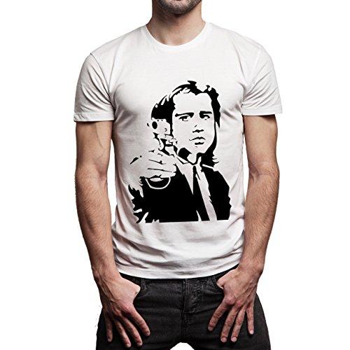 Pulp Fiction Ouentin Tarantino Movie Point Gun Background Herren T-Shirt Weiß